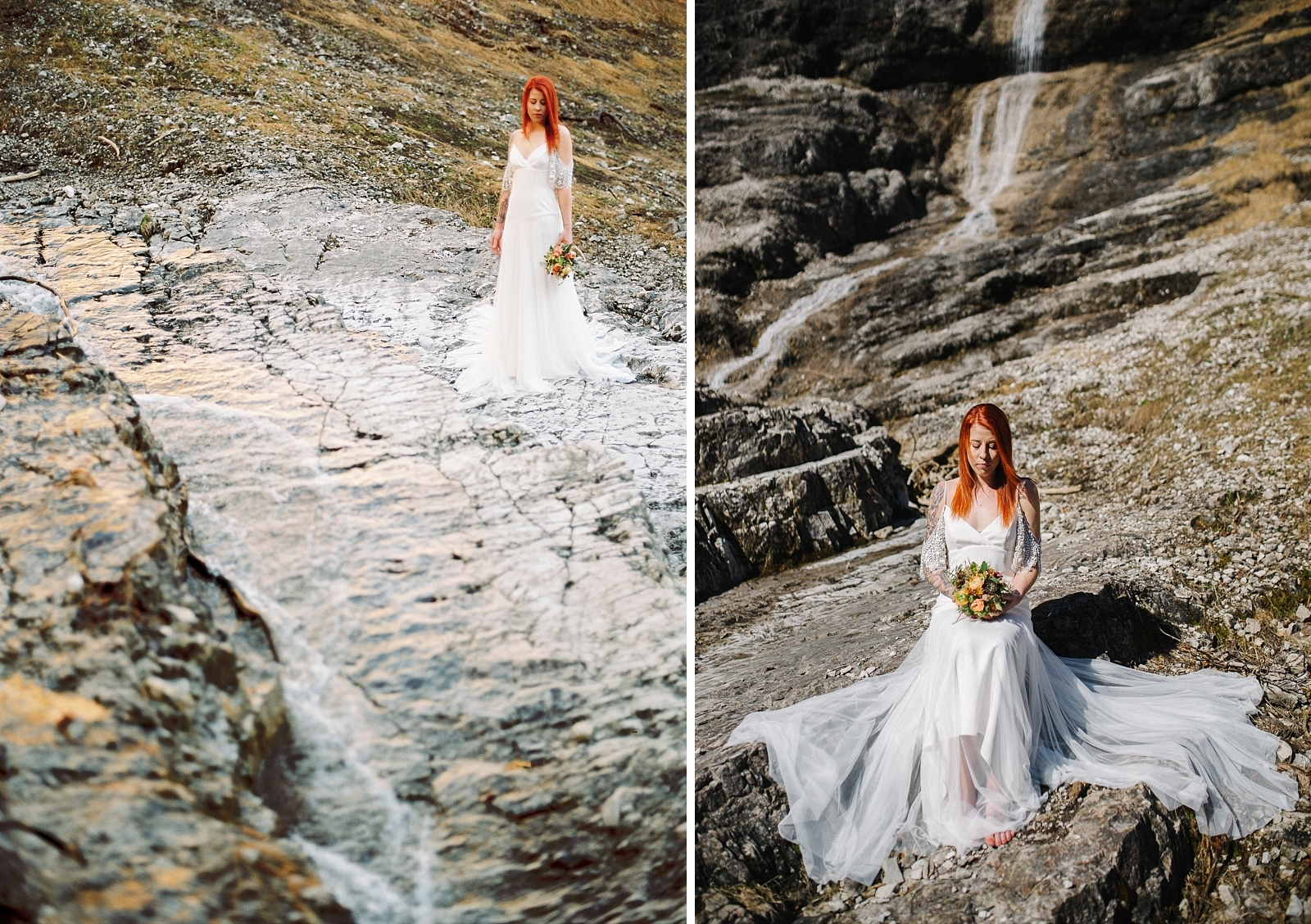 Braut am Wasserfall